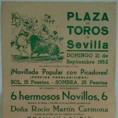 Carteles Toros: CARTEL PLAZA DE TOROS DE SEVILLA 1952. Lote 134352514