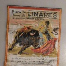 Carteles Toros: CARTEL TELA CORRIDA TOROS 28 AGOSTO 1947 MANOLETE. Lote 134554554