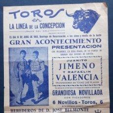 Carteles Toros: L32-8 CARTEL PUBLICITARIO TAURINO TOROS EN LA LINEA DE LA CONCEPCION (CADIZ) DEL FESTEJO A CELEBRAR. Lote 134933782