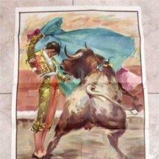 Carteles Toros: CARTEL DE TOROS SIN IMPRIMIR. ILUSTRADOR CROS ESTREMS. LITOGRAFÍA ORTEGA - VALENCIA. TAMAÑO 70X34CM.. Lote 135064106