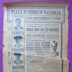 Carteles Toros: CARTEL TOROS, PLAZA VALENCIA, 1913, BOMBITA, GALLITO, GALLITO CHICO, CT335. Lote 135166029