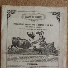 Carteles Toros: CARTEL DE TOROS DE VALLADOLID. 24 DE MAYO (SIN AÑO) (HACIA 1870) SRES. MERLI Y SAULEDA. . Lote 135768638