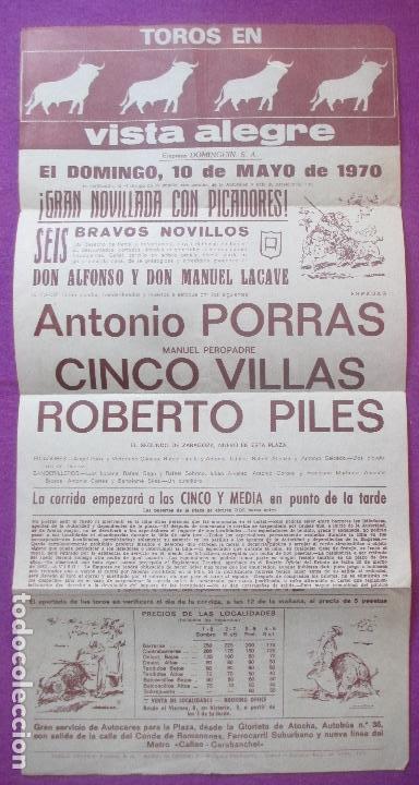 CARTEL TOROS, PLAZA VISTA ALEGRE, MADRID, 1970, PORRAS, VILLAS, ROBERTO PILES (Coleccionismo - Carteles Gran Formato - Carteles Toros)