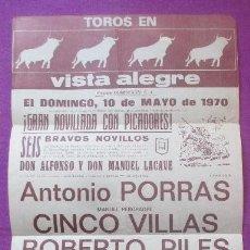 Carteles Toros: CARTEL TOROS, PLAZA VISTA ALEGRE, MADRID, 1970, PORRAS, VILLAS, ROBERTO PILES. Lote 135953502