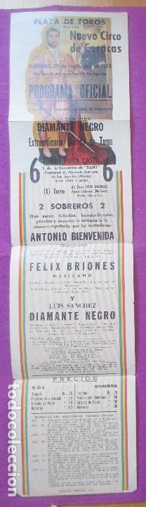 CARTEL TOROS, PLAZA NUEVO CIRCO DE CARACAS, 1963, BIENVENIDA, FELIX BRIONES, DIAMANTE NEGRO (Coleccionismo - Carteles Gran Formato - Carteles Toros)