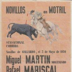 Carteles Toros: CORRIDA DE NOVILLOS EN MOTRIL 1950: REVERSO 10 ENTRADAS DE SOL Y SOMBRA. Lote 137318882