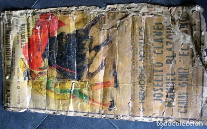 Carteles Toros: antiguo cartel toros entelado . doble cara plaza toros monumental joselito clavel Valencia 1/ 0,5 m - Foto 2 - 137334382