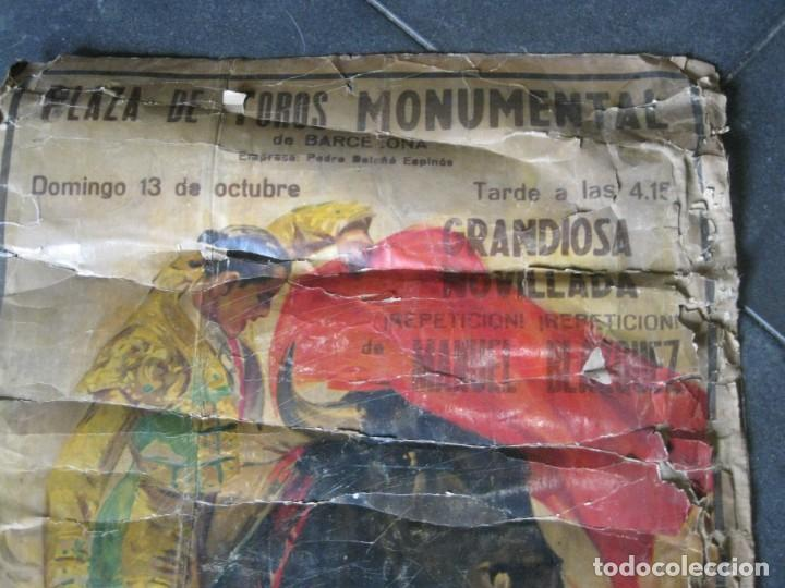 Carteles Toros: antiguo cartel toros entelado . doble cara plaza toros monumental joselito clavel Valencia 1/ 0,5 m - Foto 8 - 137334382
