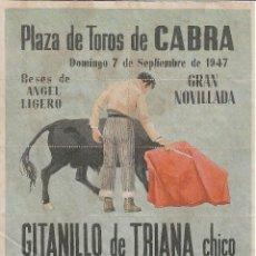 Carteles Toros: PLAZA DE TOROS DE CABRA 1947 / REVERSO 10 ENTRADAS DE SOL Y SOMBRA. Lote 137417174