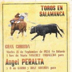 Carteles Toros: TOROS EN SALAMANCA 1954 - PERALTA - ANTOÑETE - POSADA / REVERSO 10 ENTRADAS DE SOL Y SOMBRA. Lote 137417590