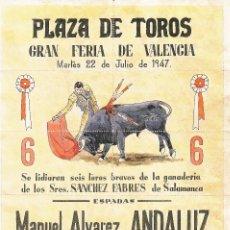 Carteles Toros: PLAZA DE TOROS VALENCIA 1947 - ANDALUZ - EL CHONI - ROVIRA / REVERSO 10 ENTRADAS DE SOL Y SOMBRA. Lote 137417890