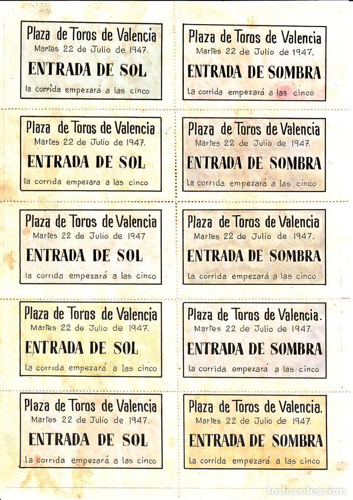 Carteles Toros: PLAZA DE TOROS VALENCIA 1947 - ANDALUZ - EL CHONI - ROVIRA / REVERSO 10 ENTRADAS DE SOL Y SOMBRA - Foto 2 - 137417890