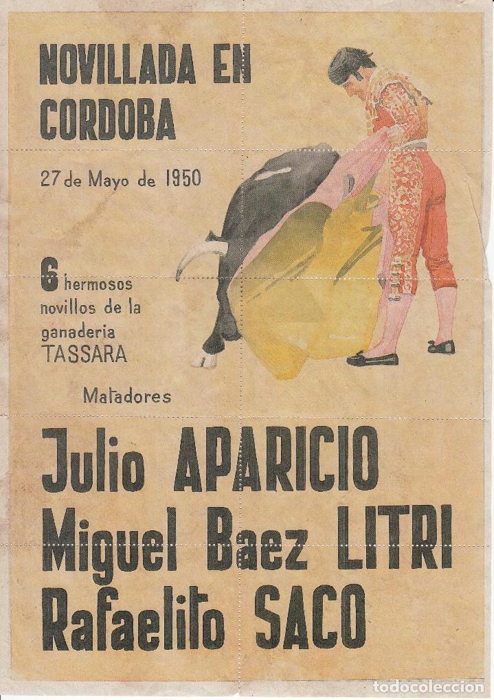 NOVILLOS EN CORDOBA 1950 - APARICIO - LITRI -SACO / REVERSO 10 ENTRADAS DE SOL Y SOMBRA (Coleccionismo - Carteles Gran Formato - Carteles Toros)