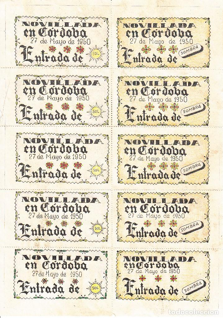 Carteles Toros: NOVILLOS EN CORDOBA 1950 - APARICIO - LITRI -SACO / REVERSO 10 ENTRADAS DE SOL Y SOMBRA - Foto 2 - 137418478