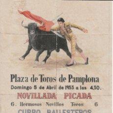 Carteles Toros: PLAZA TOROS PAMPLONA - BALLESTEROS - ESPARTERO - VALENCIA / REVERSO 10 VALES AYUDA AMERICANA. Lote 137419830