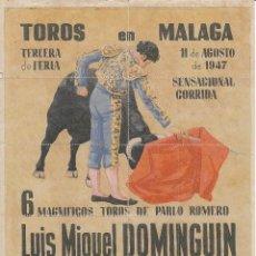 Carteles Toros: TOROS EN MALAGA 1947 - DOMINGUIN - VAZQUEZ - EL CHONI / REVERSO 10 ENTRADAS DE SOL Y SOMBRA. Lote 137420438