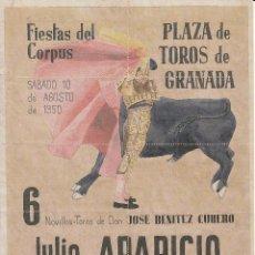 Carteles Toros: PLAZA TOROS GRANADA 1950 - APARICIO - LITRI / REVERSO 10 ENTRADAS DE SOL Y SOMBRA. Lote 137420822