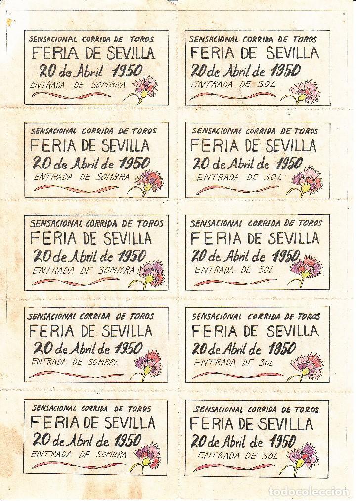 Carteles Toros: FERIA DE SEVILLA 1950 - VAZQUEZ - MUÑOZ - GONZALEZ / REVERSO 10 ENTRADAS DE SOL Y SOMBRA - Foto 2 - 137423530