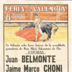 Carteles Toros: FERIA VALENCIA 1947 - BELMONTE - CHONI - ROVIRA - VITO / REVERSO 10 ENTRADAS DE SOL Y SOMBRA. Lote 137423818