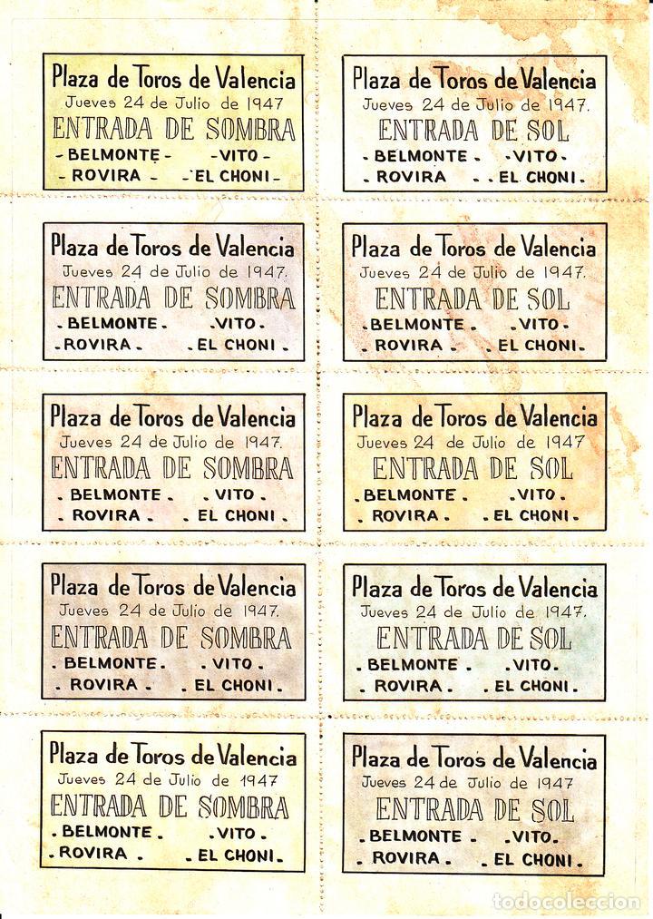 Carteles Toros: FERIA VALENCIA 1947 - BELMONTE - CHONI - ROVIRA - VITO / REVERSO 10 ENTRADAS DE SOL Y SOMBRA - Foto 2 - 137423818