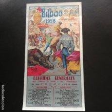 Carteles Toros: CARTEL: PLAZA DE TOROS DE VISTA-ALEGRE BILBAO 1958. Lote 137432322