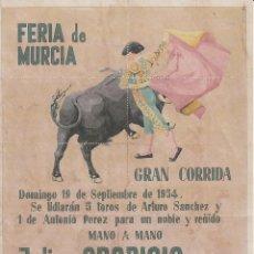 Carteles Toros: FERIA DE MURCIA 1954 - APARICIO - CASCALES / REVERSO 10 ENTRADAS DE SOL Y SOMBRA. Lote 137528570