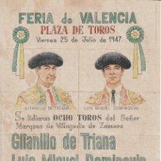 Carteles Toros: FERIA DE VALENCIA 1947 - TRIANA - DOMINGUIN - ROVIRA - NAVARRO / REVERSO 10 ENTRADAS DE SOL Y SOMBRA. Lote 137529494