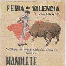 Carteles Toros: FERIA DE VALENCIA 1947 - MANOLETE - NAVARRO - MUÑOZ / REVERSO 10 ENTRADAS DE SOL Y SOMBRA. Lote 137530078