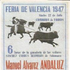 Carteles Toros: FERIA DE VALENCIA 1947- ANDALUZ - EL CHONI - ROVIRA / REVERSO 10 ENTRADAS SOL Y SOMBRA. Lote 137589434