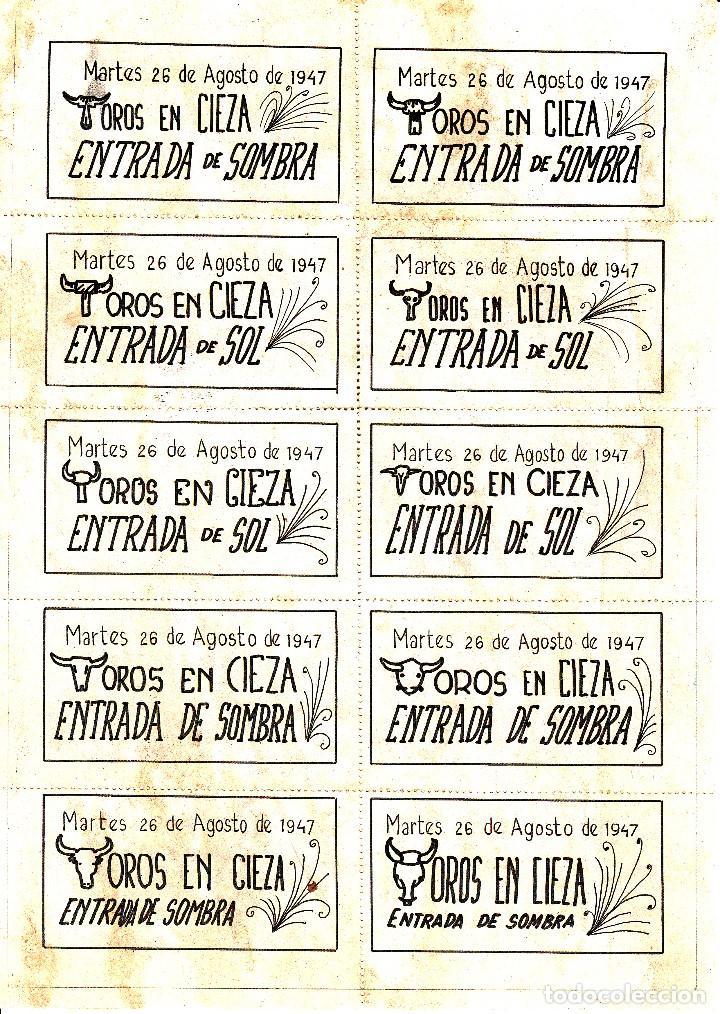 Carteles Toros: TOROS EN CIEZA 1947 - DOMINGUIN - PARRITA - MUÑOZ / REVERSO 10 ENTRADAS SOL Y SOMBRA - Foto 2 - 161838740