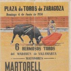 Carteles Toros: PLAZA TOROS ZARAGOZA 1950: MARTORELL - ORTEGA - CALERITO / REVERSO DIEZ ENTRADAS. Lote 137632158