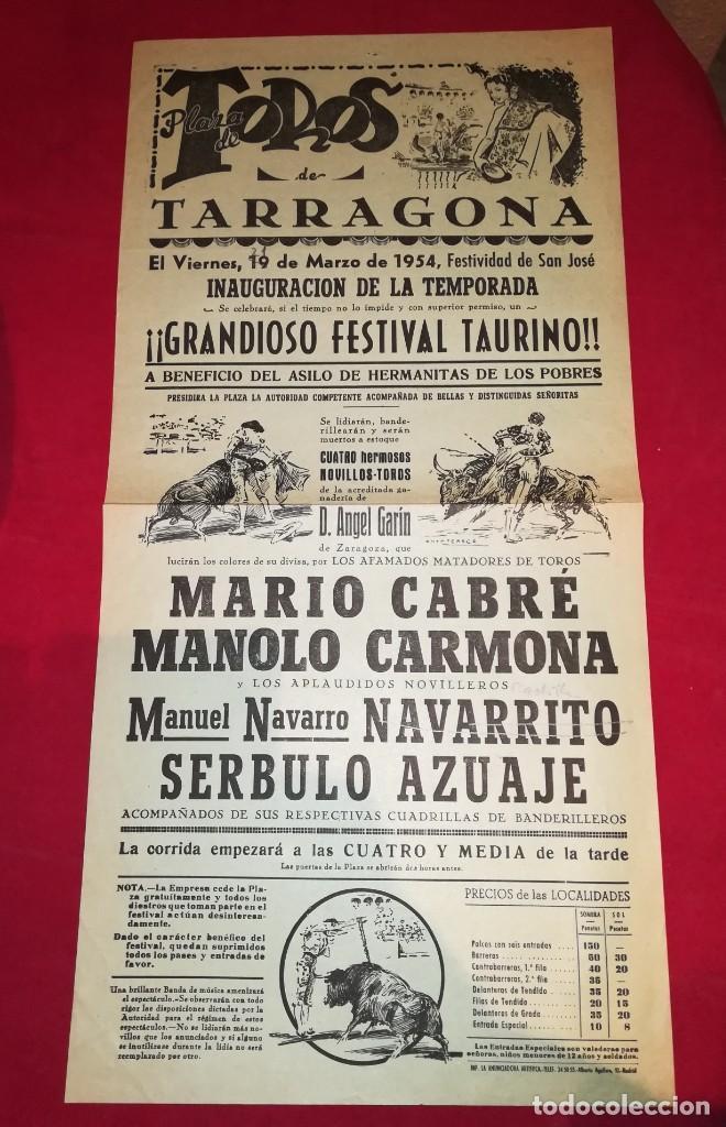 EXCEPCIONAL CARTEL PLAZA DE TARRAGONA 1954 MARIO CABRE (Coleccionismo - Carteles Gran Formato - Carteles Toros)