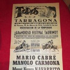 Carteles Toros: EXCEPCIONAL CARTEL PLAZA DE TARRAGONA 1954 MARIO CABRE. Lote 138715334