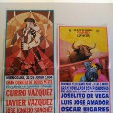 Carteles Toros: LOTE DE 2 CARTELES DE TOROS, MADRID, 1993 Y 1994. Lote 138871310