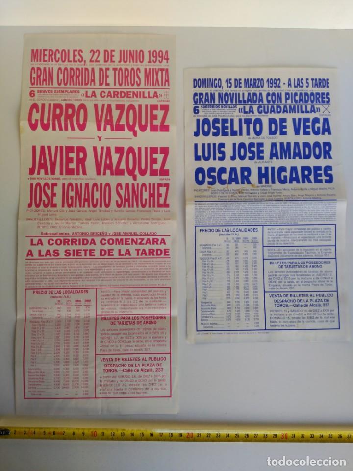 Carteles Toros: Lote de 2 carteles de toros, Madrid, 1993 y 1994 - Foto 2 - 138871310