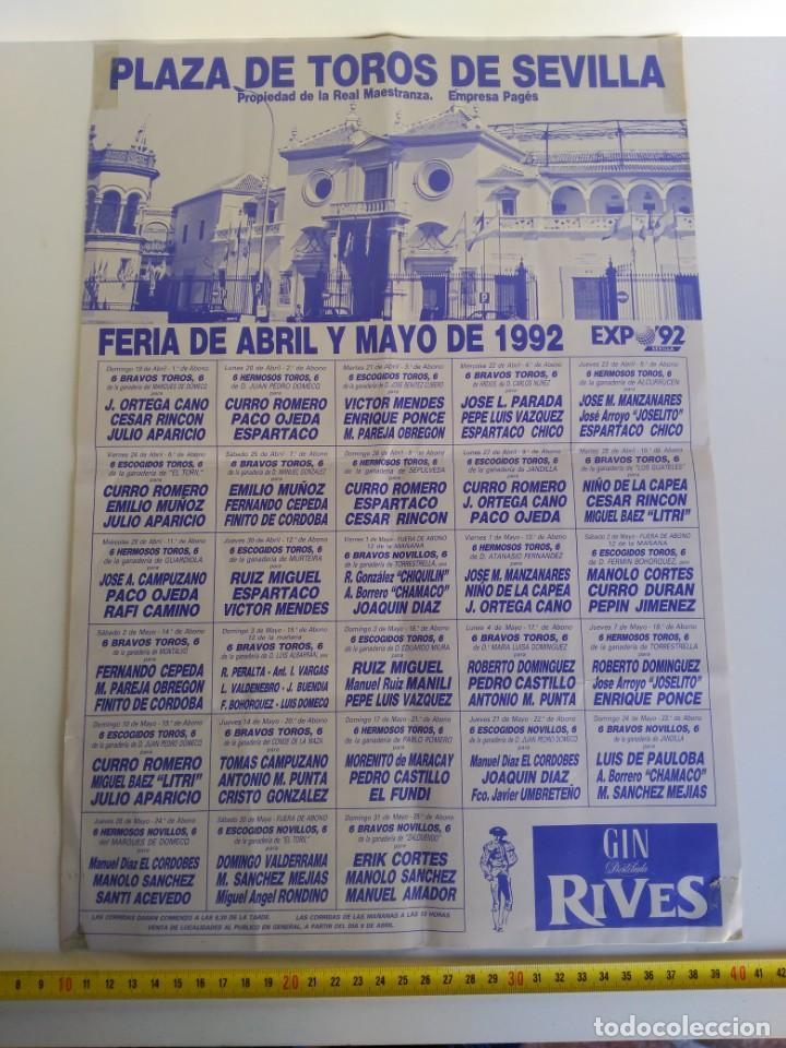CARTEL DE TOROS, SEVILLA, FERIA DE ABRIL DE 1992 (Coleccionismo - Carteles Gran Formato - Carteles Toros)