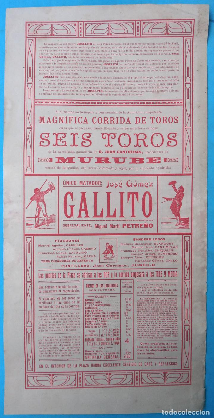 Carteles Toros: CARTEL PLAZA TOROS VALENCIA 1914 , 6 TOROS , UNICO MATADOR JOSE GOMEZ GALLITO , ORIGINAL , CA - Foto 2 - 139329942