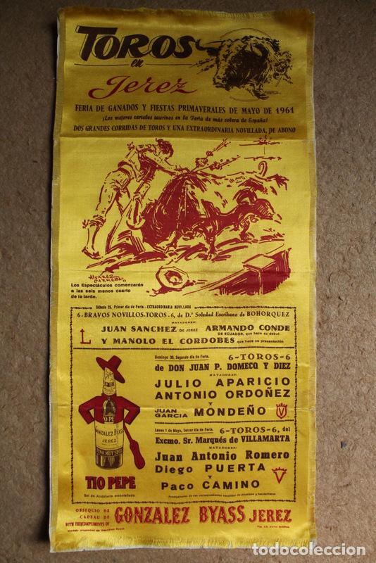 CARTEL DE TOROS DE JEREZ. FIESTAS PRIMAVERALES DE MAYO DE 1961. EL CORDOBÉS, JULIO APARICIO (Coleccionismo - Carteles Gran Formato - Carteles Toros)