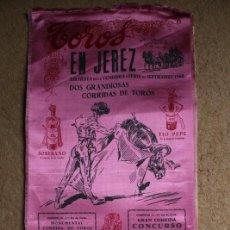 Carteles Toros: CARTEL DE TOROS DE JEREZ. FIESTA DE LA VENDIMIA Y FERIA DE SEPTIEMBRE DE 1960.RAFAEL DE PAULA. Lote 140397914