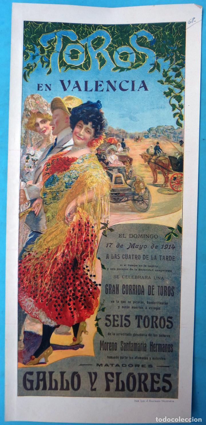 CARTEL PLAZA TOROS VALENCIA MAYO 1914 , MANOLAS Y AUTOMOVIL , GALLO Y FLORES , ORIGINAL, CA (Coleccionismo - Carteles Gran Formato - Carteles Toros)