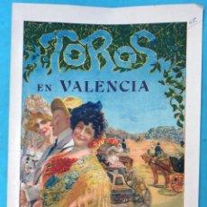 Carteles Toros: CARTEL PLAZA TOROS VALENCIA MAYO 1914 , MANOLAS Y AUTOMOVIL , GALLO Y FLORES , ORIGINAL, CA. Lote 140498310