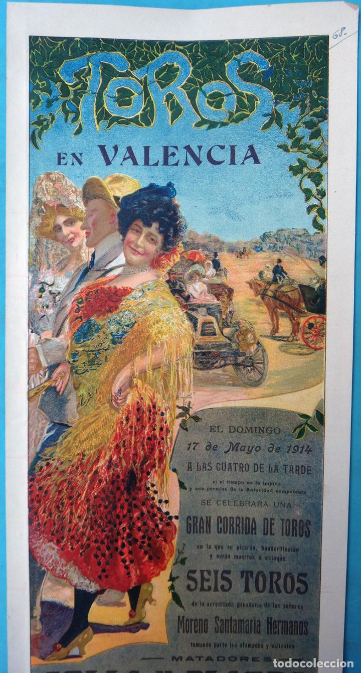 Carteles Toros: CARTEL PLAZA TOROS VALENCIA MAYO 1914 , MANOLAS Y AUTOMOVIL , GALLO Y FLORES , ORIGINAL, CA - Foto 2 - 140498310