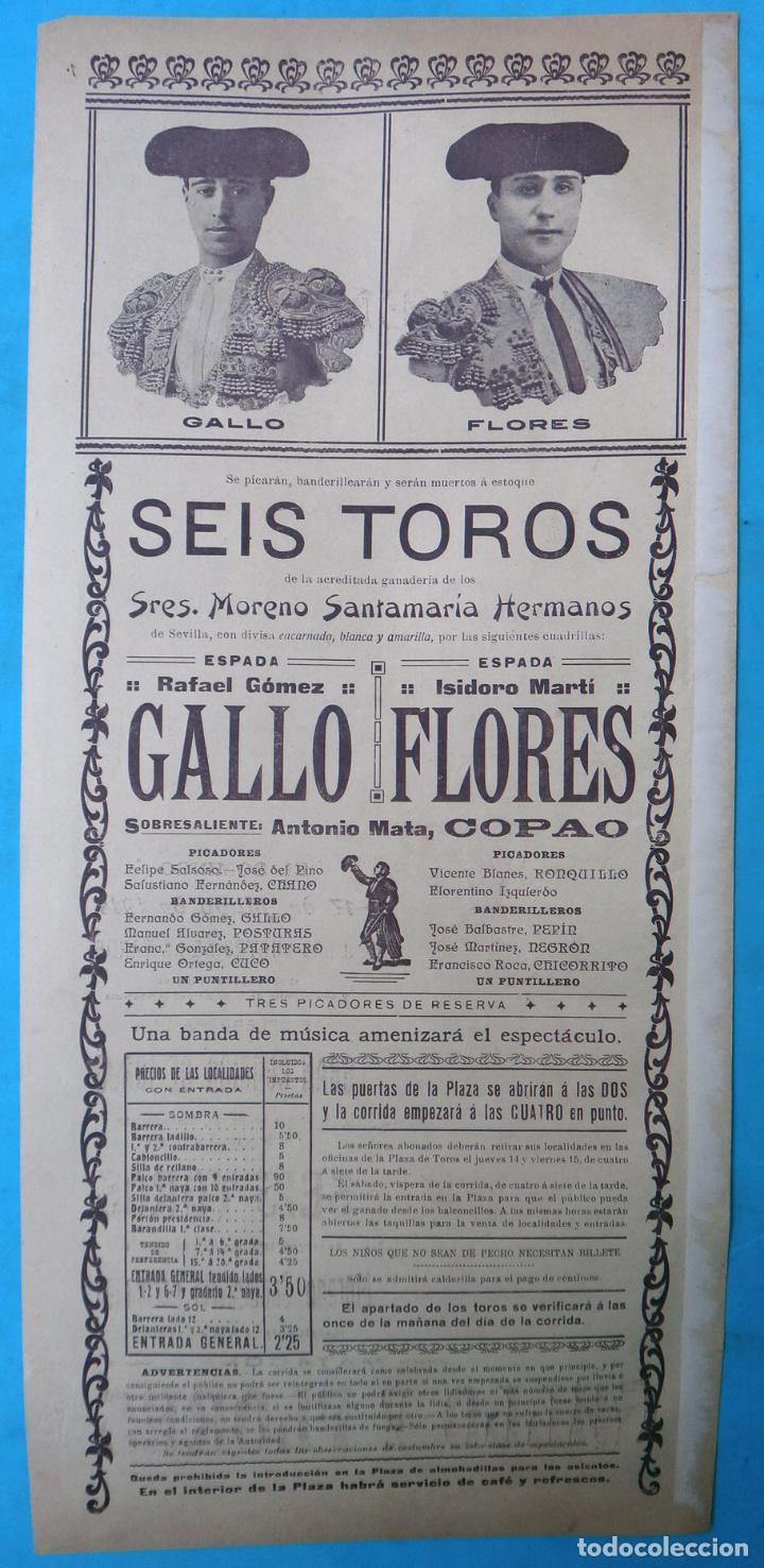 Carteles Toros: CARTEL PLAZA TOROS VALENCIA MAYO 1914 , MANOLAS Y AUTOMOVIL , GALLO Y FLORES , ORIGINAL, CA - Foto 3 - 140498310