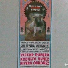 Carteles Toros: CARTEL DE TOROS DE LAS VENTAS DEL AÑO 1994, NOVILLADA. Lote 140910406