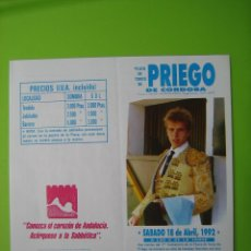Carteles Toros: CARTELITO PLAZA DE TOROS DE PRIEGO DE CORDOBA. Lote 141553654