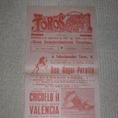 Carteles Toros: PLAZA DE TOROS DE PALMA DE MALLORCA, BALEARES. 1959 ANGEL PERALTA, CHICUELO II Y VICTORIANO VALENCIA. Lote 152068962