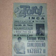 Affissi Tauromachia: PLAZA DE TOROS DE INCA, MALLORCA BALEARES 1959 ENRIQUE VERA, SANLUQUEÑO Y ALFONSO VAZQUEZ II . Lote 142372498