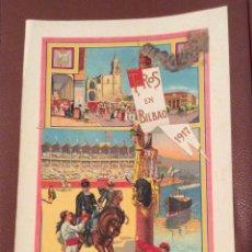 Carteles Toros: BILBAO 1916 CARTEL DE TOROS 41X22 CM ,IDEAL COLECCIONISTAS . Lote 142779502