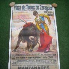 Carteles Toros: CARTEL PLAZA DE TOROS DE ZARAGOZA TEMPORADA 1991 MANZANARES ORTEGA CANO OJEDA MEDIDAS 54 X 100 CMS. Lote 143304474