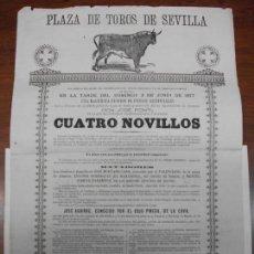 Carteles Toros: 1877 CARTEL DE TOROS DE SEVILLA - EL VALENCIANO - EL HABANERO - SALERITO - EL COJO PINEDA. Lote 143709498